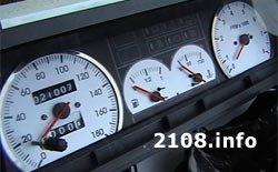Белые шкалы приборов для ВАЗ 2108, 2109 и 21099 с высокой панелью