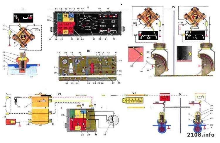 Приборная панель 2109 схема 906
